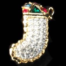 """Swarovski Christmas Stocking Pin 1 5/8"""" tall"""