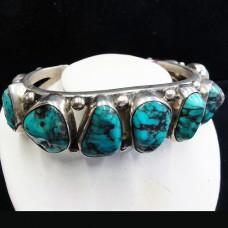 Navajo Bracelet Turquoise & Silver 9 oval stones 92gm