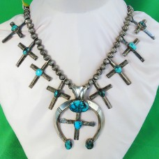 Navajo Silver & Turquoise Necklace 1920 6.22 troy oz silver