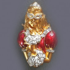 "Swarovski Colombine Masked Lady Pin 1.5"" tall"
