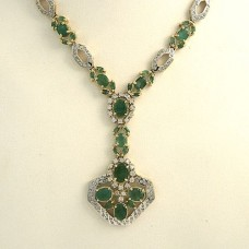 Emerald and Diamond necklace 14kt gold