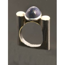 Danish Style Sterling Silver ring with Lapis size 7