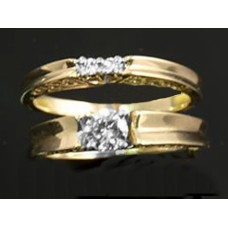 ladies yellow gold diamond ring set