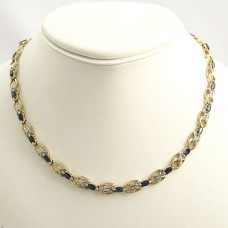 Sapphire and Diamond 14kt gold necklace