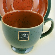 Denby Harlequin Cup Green OUT /Red IN