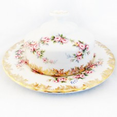 DIMITY ROSE by Royal Albert Round Butter Cover & Underplate