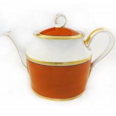 Ginori Contessa Rust Red Tea Pot 8 inches tall