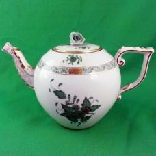 """Herend Chinese Bouquet Green Tea Pot 8.5"""" long"""