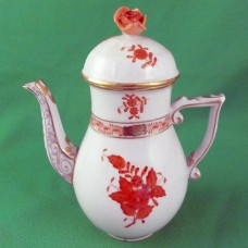 """Herend Chinese Bouquet Rust Coffee Pot 6.75"""" tall"""