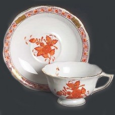 Herend Chinese Bouquet Rust Cup & Saucer PEONY