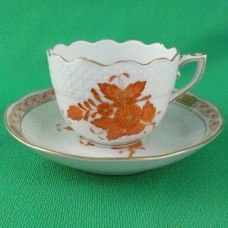 Herend Chinese Bouquet Rust Espresso Cup & Saucer