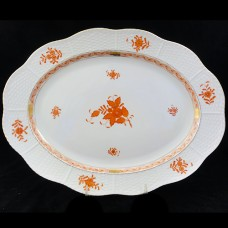 "Herend Chinese Bouquet Rust Platter 14.25"" long"