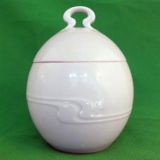 "Rosenthal Assimetria White Covered Sugar Bowl 4.5"" tall"