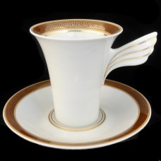 Rosenthal Medaillon Meandre Maroon Tall Cup & Saucer Versace