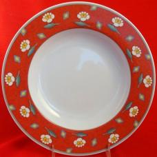"Villeroy & Boch SWITCH 1 AVA RED Rim Soup 9"" NEW"