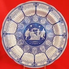 """Spode BLUE ROOM Calendar Plate 1997 10.5"""" NEW England"""